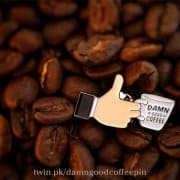 Damn Good Coffee Pin (Thumbs Up)