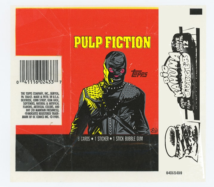 TOPPS: Pulp Fiction (Quentin Tarantino) bubble gum and sticker wax pack wrapper