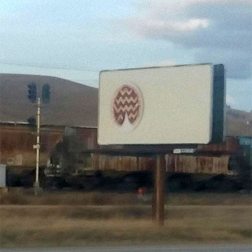 Twin Peaks cherry pie billboard in Missoula, MT