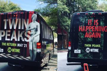 Twin Peaks shuttle bus at SXSW. Via @TwinPeaksJapan