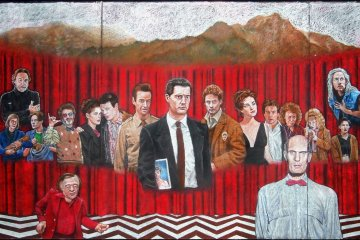 Twin Peaks chalk mural by Justin Cozens