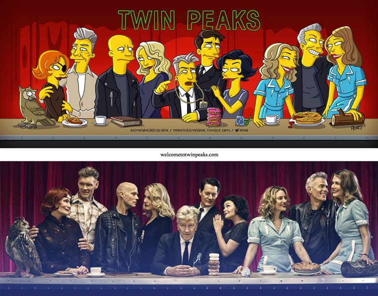 Twin Peaks Entertainment Weekly cover Simpsonized by ADN