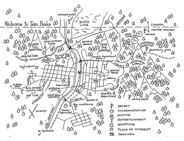 Twin Peaks map by Urban Dilettante