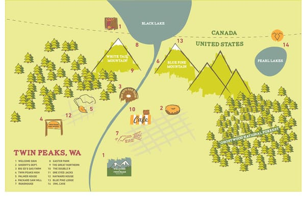 Twin Peaks map by Jacquelyn Schaab