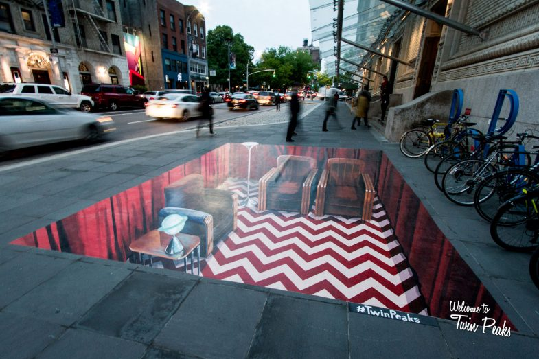 Twin Peaks Red Room as a 3D anamorphic street art painting