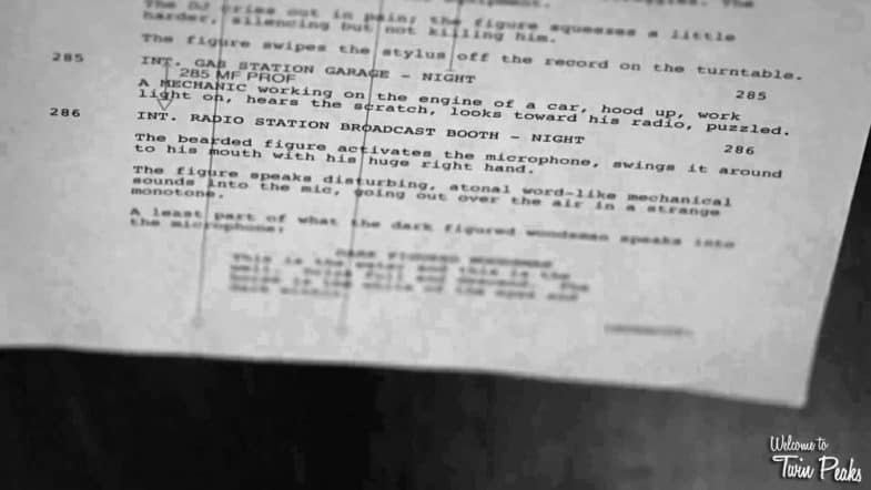 Twin Peaks Season 3 Part 8 script page