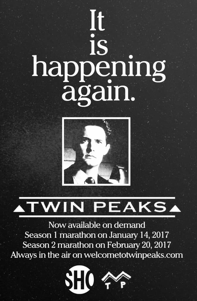 Vintage style TV guide ad for the Twin Peaks season marathons on Showtime
