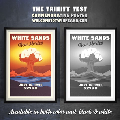 White Sands New Mexico Commemorative Poster Color Bw